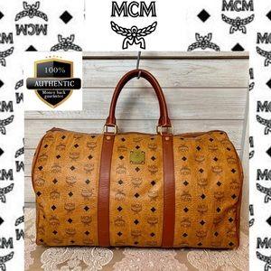 MCM BOSTON BAG SATCHEL TRAVEL BAG HANDBAG PVC BROW